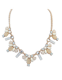 Montgomery Light Yellow Gemstone Decorated Waterdrop Shape Design Alloy Bib Necklaces