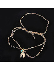 New Champagne Gold Beads Decorated Leaf Shape Design Alloy Body Chains
