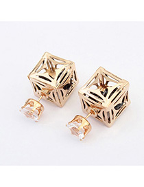 Korean Black Square Shape Decorated Hollow Out Design Alloy Stud Earrings