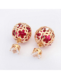 ablaze Plum Red Flower Pattern Decorated Round Shape Design Alloy Stud Earrings