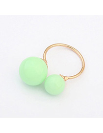 Korean Light Green Round Ball Decorated Simple Design Alloy Korean Rings