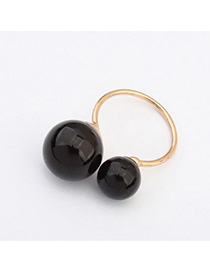 Korean Black Round Ball Decorated Simple Design Alloy Korean Rings