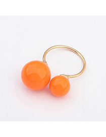 Korean Orange Round Ball Decorated Simple Design Alloy Korean Rings