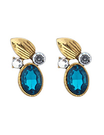 Joker Sky Blue Diamond Decorated Leaf Shape Design Alloy Stud Earrings