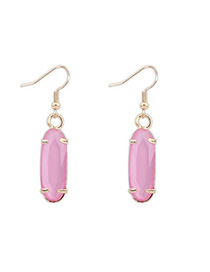 Trendy Pink Flower Shape Decorated Simple Design Alloy Korean Earrings