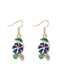 Trendy Blue Flower Shape Decorated Simple Design Alloy Korean Earrings