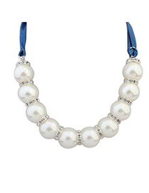 bright White Pearl Decorated Simple Design Alloy Beaded Necklaces