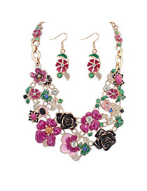 charming Purple Flower Shape Decorated Simple Design Alloy Jewelry Sets