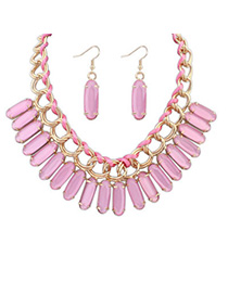 elegant Pink Oval Shape Decorated Weave Design Alloy Jewelry Sets