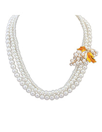 Elegant Yellow Pearl Decorated Multilayer Leaf Shape Design Alloy Chains