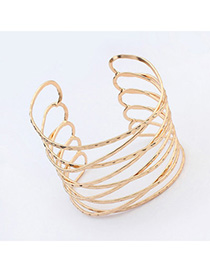 Concise Gold Color Multilayer Simple Design Alloy Fashion Bangles