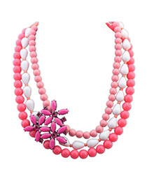 Occident Red Gemstone Decorated Multilayer Flower Design Alloy Fashion Necklaces