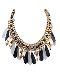Trendy Black Waterdrop Shape Decorated Weave Design Alloy Bib Necklaces