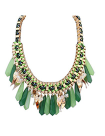 Trendy Green Waterdrop Shape Decorated Weave Design Alloy Bib Necklaces