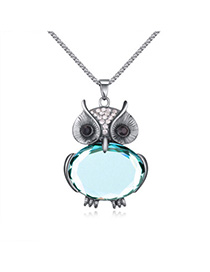 Trendy Sky Blue Owl Shape Decorated Simple Design Alloy Chains