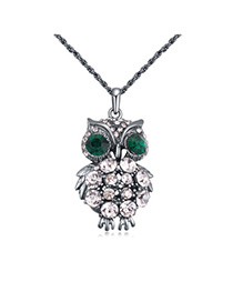 Shiny Black Diamond Decorated Owl Shape Design Alloy Chains