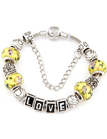 Marvelous Yellow Beads Decorated Multi-element Design Alloy Fashion Bracelets