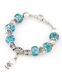 Fine Blue Beads Decorated Bowknot Pattern Design Alloy Korean Fashion Bracelet