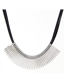 High-quality Silver Color Metal Decorated Spring Shape Design Alloy Korean Necklaces