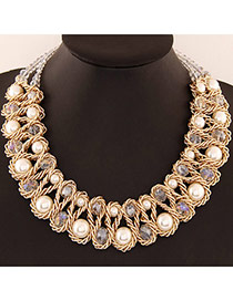 Luxurious White Beads Decorated Weave Design Alloy Bib Necklaces