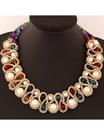 Luxurious Multicolor Beads Decorated Weave Design Alloy Fashion Necklaces