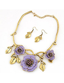 Temperament Purple Diamond Decorated Flower & Leaf Shape Design