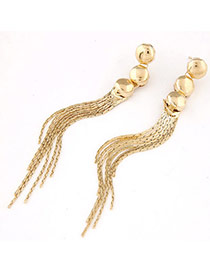 Contracted Gold Color Round Shape Decorated Tassel Design Alloy Stud Earrings