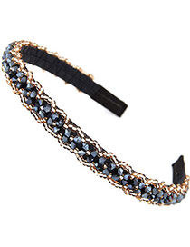 Handmade Dark Blue Beads Decorated Weave Design Alloy Hair Band Hair Hoop