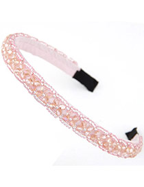Handmade Pink Beads Decorated Weave Design Alloy Hair Band Hair Hoop