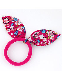 Sweet Plum Red Flower Pattern Decorated Bowknot Shape Design Fabric Hair band hair hoop