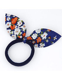 Sweet Blue Flower Pattern Decorated Bowknot Shape Design Fabric Hair band hair hoop