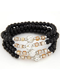 Summer Black Beads Decorated Multilayer Design Alloy Korean Fashion Bracelet