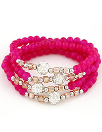 Summer Plum Red Beads Decorated Multilayer Design Alloy Korean Fashion Bracelet