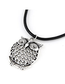 Personalized Silver Color Owl Shape Pendant Decorated Simple Design