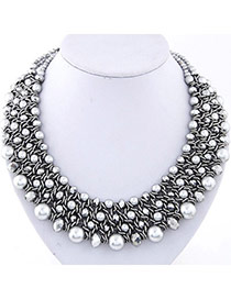Fashion Silver Color Pearl Decorated Multilayer Weave Design