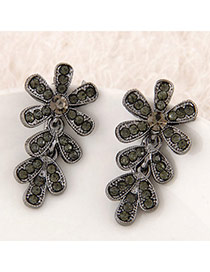 Exquisite Bronze Diamond Decorated Feather Shape Design Alloy