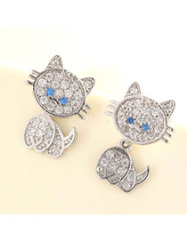 Lovely Silver Color Diamond Decorated Cat Shape Design  Cuprum Fashion earrings