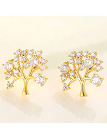 Boutique Champagne Gold Diamond Decorated Tree Shape Design  Cuprum Fashion earrings