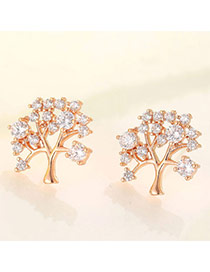 Boutique Rose Gold Diamond Decorated Tree Shape Design  Cuprum Fashion earrings