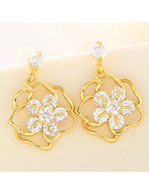 Sweet Champagne Gold Diamond Decorated Flower Design  Cuprum Fashion earrings
