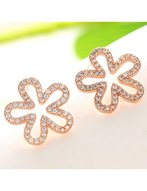 Brilliant Rose Gold Diamond Decorated Flower Design  Cuprum Fashion earrings