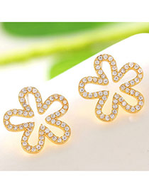 Brilliant Champagne Gold Diamond Decorated Flower Design  Cuprum Fashion earrings