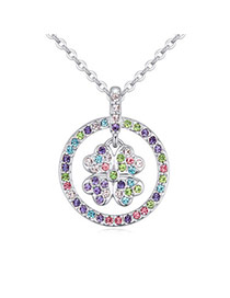 Tinsel Multicolor Diamond Decorated Clover Shape Pendant Design  Alloy Crystal Necklaces