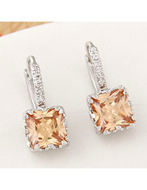 Parsimonious Champagne Color Gemstone Decorated Square Shape Design  Cuprum Stud Earrings