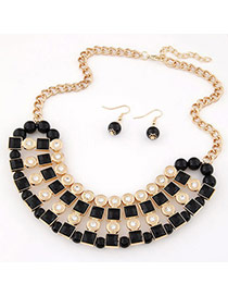 Extravagant Black Diamond Decorated Square Shape Design Alloy Jewelry Sets