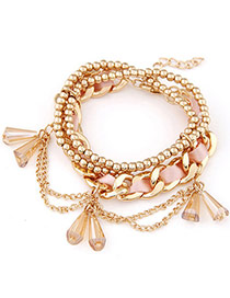 Delicate Pink Beads Decorated Multilayer Design  Alloy Korean Fashion Bracelet