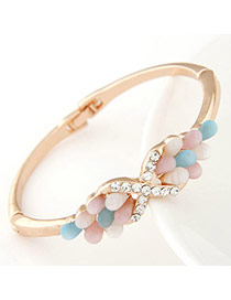 Joker Multicolor Diamond Decorated Bowknot Shape Design  Alloy Fashion Bangles