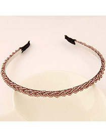 Pretty Brown Beads Decorated Weave Design  Alloy Hair band hair hoop