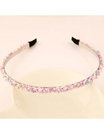 Pretty Multicolor Beads Decorated Weave Design  Alloy Hair band hair hoop