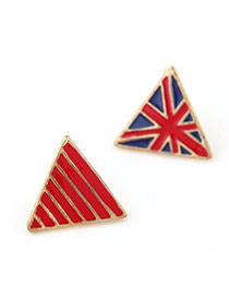 Trendy Red Triangle Shape Decorated Simple Design  Alloy Stud Earrings